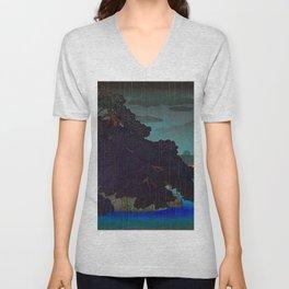 Vintage Japanese Woodblock Print Raining Landscape Tree On Rock Leaning Into The Lake Comforting Nig Unisex V-Neck