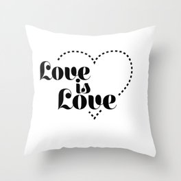 love is dash black lettering Throw Pillow