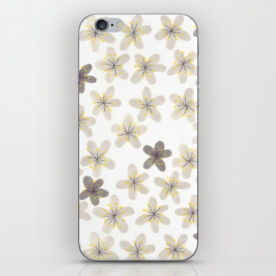 Grey and yellow flowers  iPhone & iPod Skin