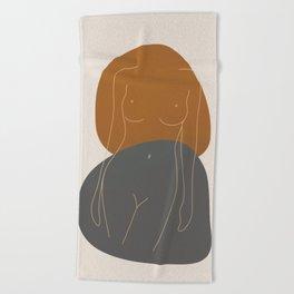 Line Female Figure 81 Beach Towel