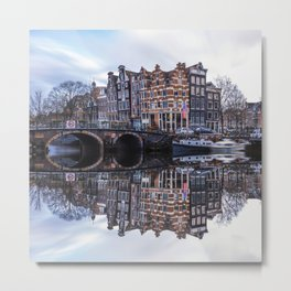 Amsterdam Tranquil Canal Scene, Netherlands  Metal Print