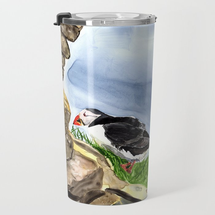 """""""What is going on over there?"""" Atlantic Puffins Watercolor Painting Travel Mug"""