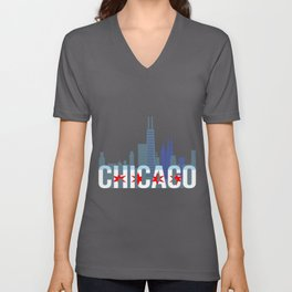 Chicago Windy City Skyline And Chicago Flag Unisex V-Neck