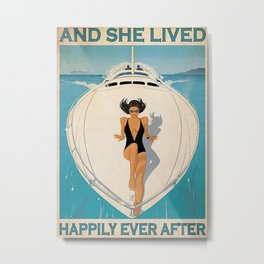 Yacht Beach Sea Poster Girl On Yacht Lived Happily Metal Print