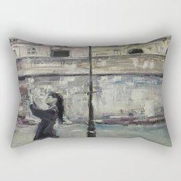 City Landscape selfie Print Original Oil Painting on Canvas Rectangular Pillow