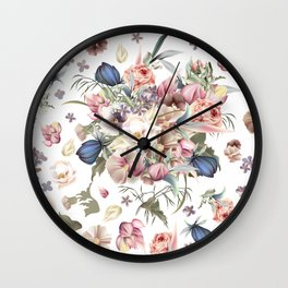 Spring mood illustration with roses Wall Clock