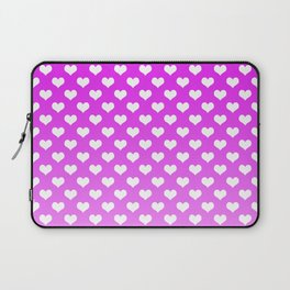 Light Pink Gradient White Hearts Laptop Sleeve