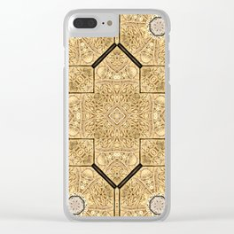 Victorian Art Deco Medieval Pattern brown SB19 Clear iPhone Case