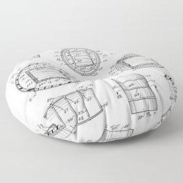 Whisky Barrel Patent - Whisky Art - Black And White Floor Pillow