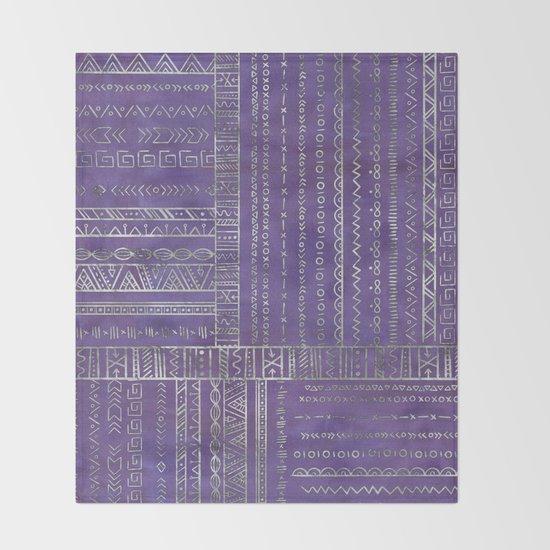 Tribal Ethnic pattern silver on  purple by k9printart