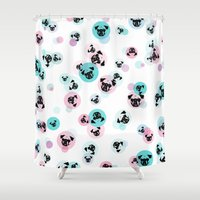 pugs Shower Curtains featuring Fizzy Pugs by Pets & Threads
