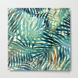 Tropical, Jungle, Palm Leaves, Watercolor Abstract, Blue and Green Metal Print