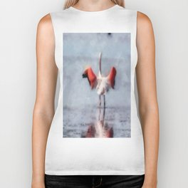 The Pink Flamingo in Watercolor Biker Tank