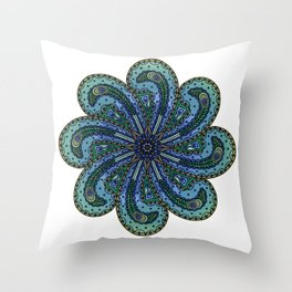 Own Your Beauty - Peacock Feather Mandala Throw Pillow