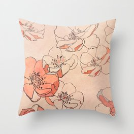 Painted Wild Roses Throw Pillow