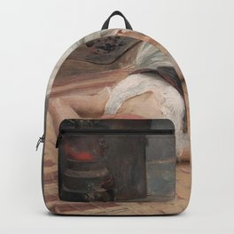 Model having a cigarette with dog female portrait painting by Robert Lundberg Backpack