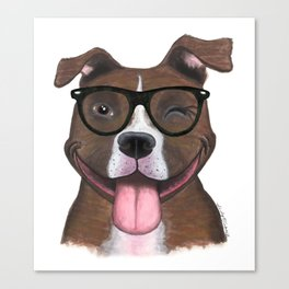 Hipster Pit Bull Canvas Print