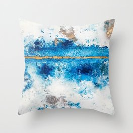Blue Skies: a pretty, minimal abstract mixed-media piece in blue, white and gold Throw Pillow