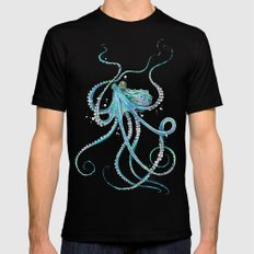 Drunk Octopus Mens Fitted Tee Black LARGE