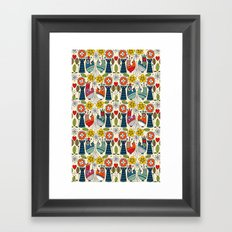 Swedish folksy cats and birds Framed Art Print