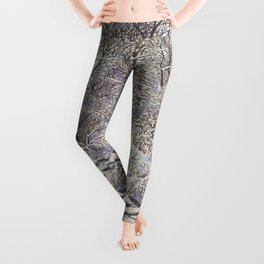 SNOWY WOODLAND BLACK AND BLUE PEN DRAWING Leggings