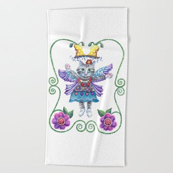 Angel Kitty Beach Towel