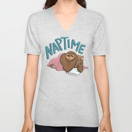 Nap Time Sloth Unisex V-Neck