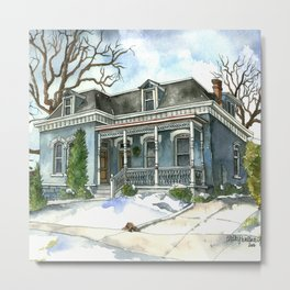 A Cozy Winter Cottage Metal Print
