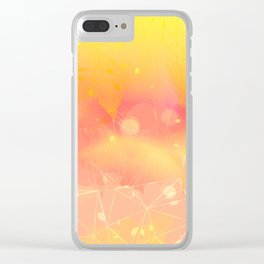 Digital Modern Yellow Abstract Design Clear iPhone Case