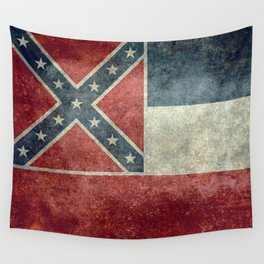 Mississippi State Flag in Distressed Grunge Wall Tapestry