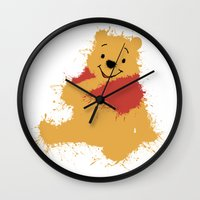 winnie the pooh Wall Clocks featuring Winnie The Pooh by DanielBergerDesign