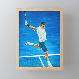 Flying Roger Federer at Australian Open. Digital artwork print. Tennis fan art gift. Framed Mini Art Print