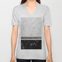 White and Black Marble Silver Glitter Stripe Glam #1 #minimal #decor #art #society6 Unisex V-Neck