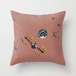 Earth, Moon, and Space Trash Throw Pillow