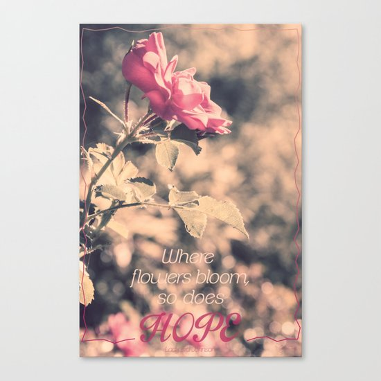 Hope (Hibiscus Pink Rose with Inspirational Quote) Canvas Print