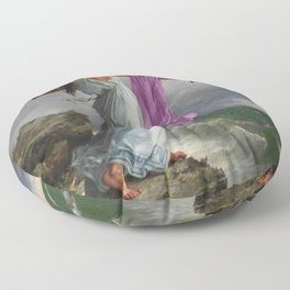 Death of the Tenth Muse Poetess Sappho at Leucadian cliffs by Miguel Carbonell Selva Floor Pillow