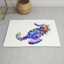 Blue Coral Seahorse, coral reef animals sea world blue purple decor Rug