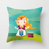 zelda Throw Pillows featuring Zelda by suupergirl