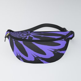 The Modern Flower Black and Periwinkle Purple Fanny Pack