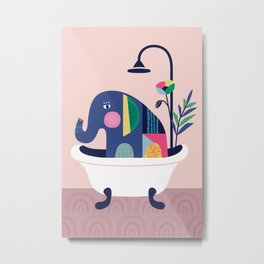 Elephant in the tub Metal Print