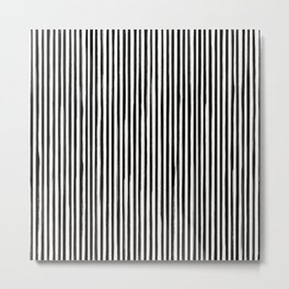 Form Brush Stripe Skinny Black on White Metal Print