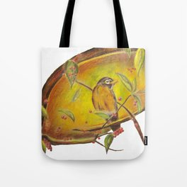 Festive Christmas Bird on a Berry Tree for Autumn and the Holidays Tote Bag