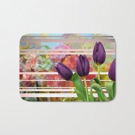 Flower Garden & Purple Tulips Stripes Collage Bath Mat