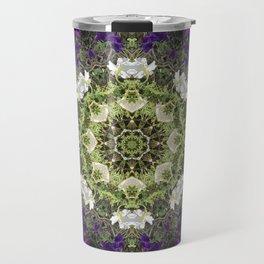 Icy White and Rich Violet Petunias Kaleidoscope Travel Mug