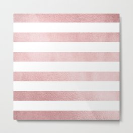 Simply Stripes in Rose Gold Sunset Metal Print
