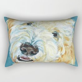 Stanley the Goldendoodle Dog Portrait Rectangular Pillow