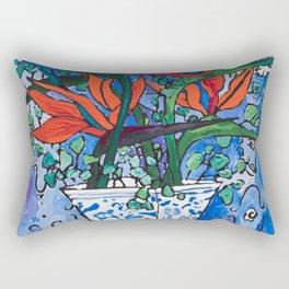 Birds of Paradise in Blue After Matisse Rectangular Pillow