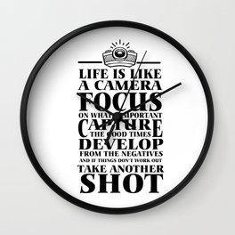 life motivation camera restart funny gift Wall Clock