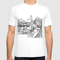 Fox on Fishing-boat MEDIUM White Mens Fitted Tee
