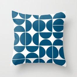 Mid Century Modern Geometric 04 Blue Throw Pillow
